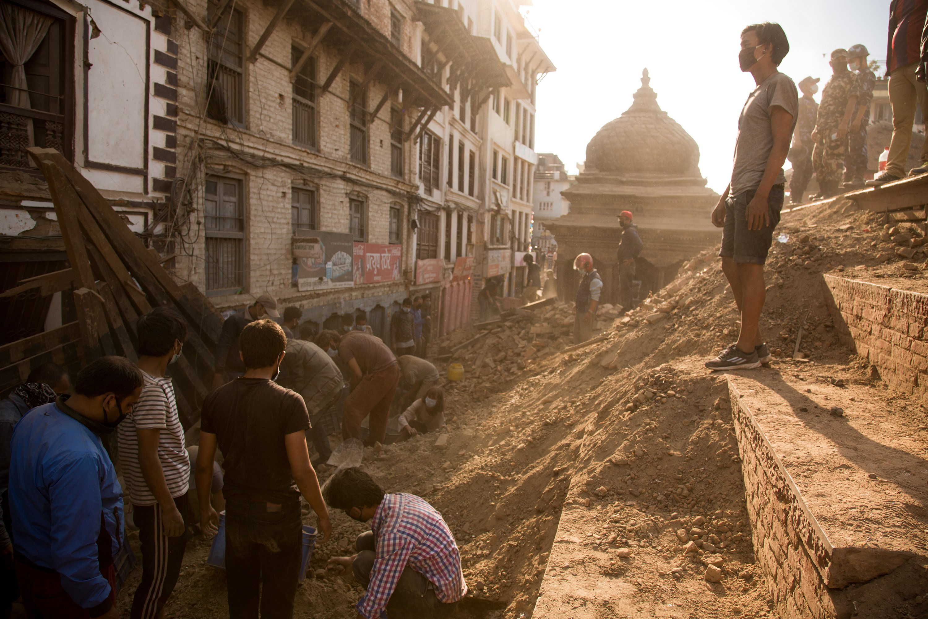 People dig through the rubble of destroyed buildings in Durbar Square in Kathmandu on Monday, April 27th, 2015, two days after an earthquake struck  the Nepali capital killing more than 3,000 people. (Jim Seida / NBC News)